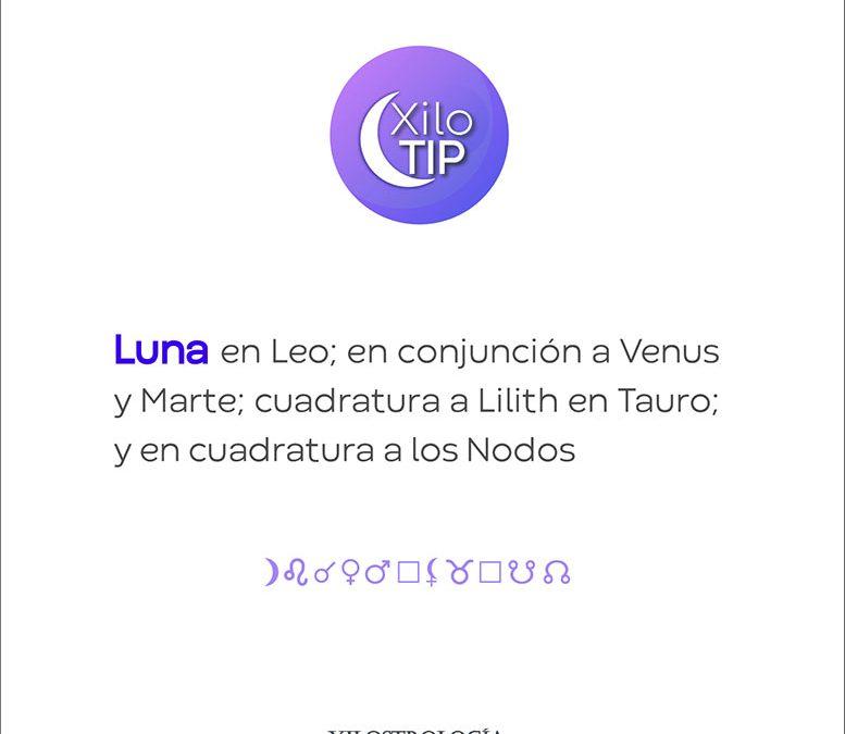 XiloTip:Luna en Leo en conjunción a Venus y Marte.